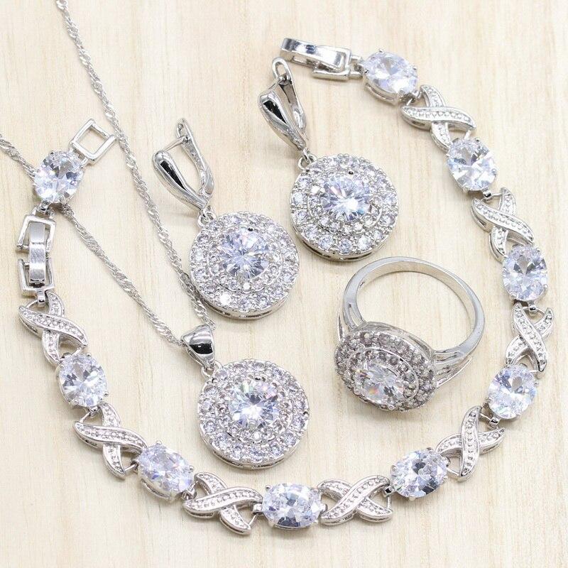Серебряный Цвет Ювелирные наборы чистый белый кубический циркон круглые серьги/кулон/ожерелье/кольцо браслет для женщин бесплатная подарочная коробка|Ювелирные наборы|   | АлиЭкспресс