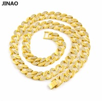JINAO Mens Gold Tone Cuban Cz Hip Hop Full Stone Iced Out 30 15mm Miami Necklace