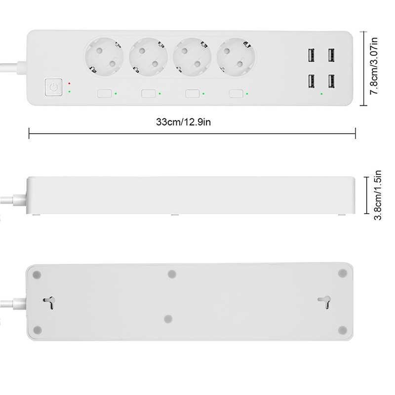 Wifi Thông Minh Dán Cường Lực Chống Sét Bảo Vệ với 4 Thông Minh Cắm 4 Cổng USB Dây Nối Dài, làm việc với Alexa & Google Trợ Lý