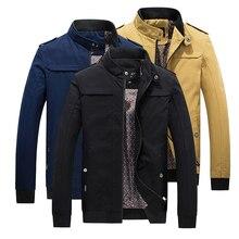 Mjnong бренд Для мужчин; модная куртка Кнопка Стенд воротник Твердые Хлопок Карманы мужской многоцветный Повседневное ветровка куртка пальто