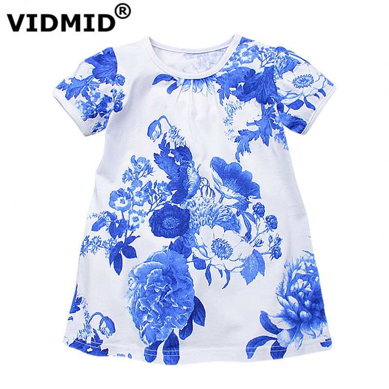 VIDMID Flowers Girls Dresses Toddler Children Clothing baby Brand Kids Clothes for kids Girls short Sleeve Vintage Fashion