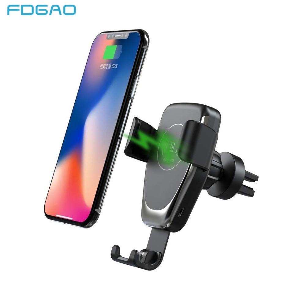 FDGAO 10W Car Mount Wireless Charger For IPhone XS Max XR X 8 Quick Qi Fast Charging Car Phone Holder For Samsung S10 S9 S8 Plus