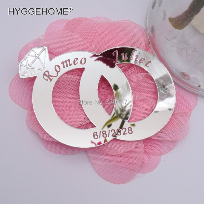 20pieces 7x5cm Double Rings Personalized Custom Diamond Gifts For Wedding Home Decoration Acrylic Mirror Wall Stickers Name Date