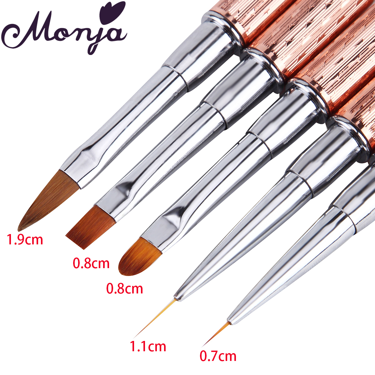 Monja Nail Art Brush Made Of Acrylic Rhinestone Handle Material For Nail Liner Brush Tool 1
