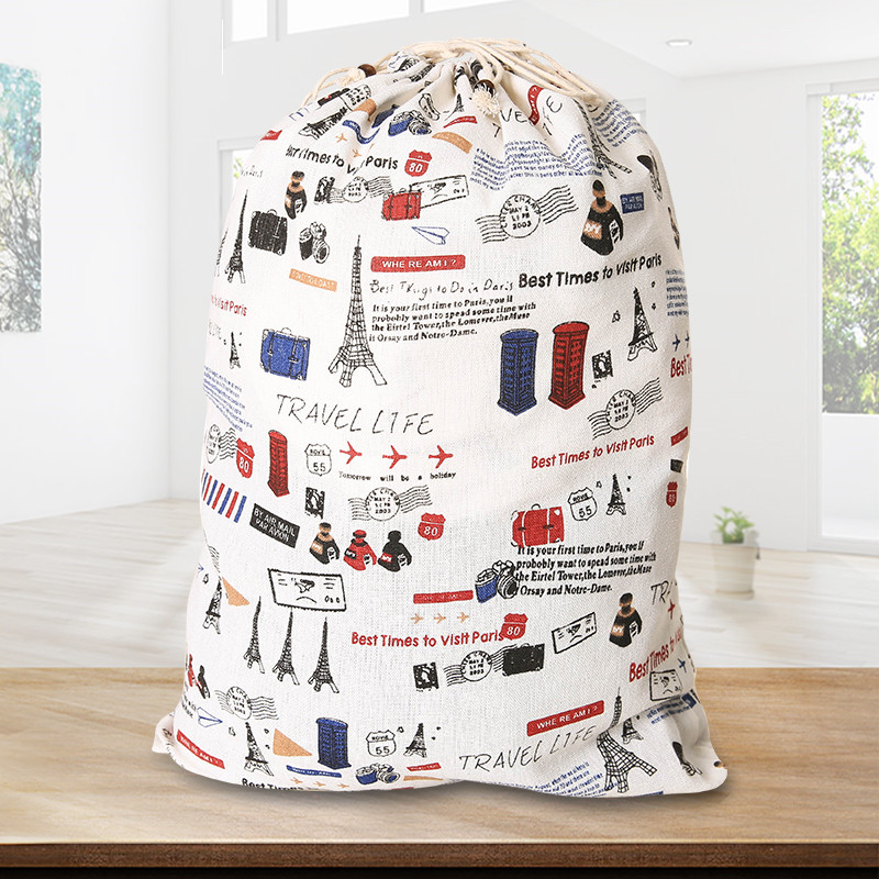 YILE Cotton Linen Drawstring Multi-purpose Home Organizer Bag Shoes Bag Bunny Flower 8201e