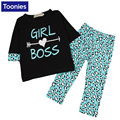 Girl's Fashion Suit Children's Clothing Letter Print Children T-shirt+Leopard Pant Children Casual Suit Girls Clothes Set YY2524
