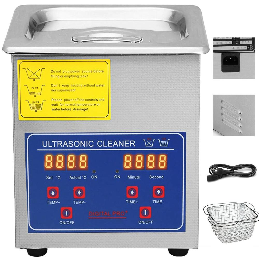 Russie livraison gratuite! 2L nettoyeur à ultrasons réchauffeur minuterie réservoir bain Machine de nettoyage industrie en acier inoxydable équipement - 2