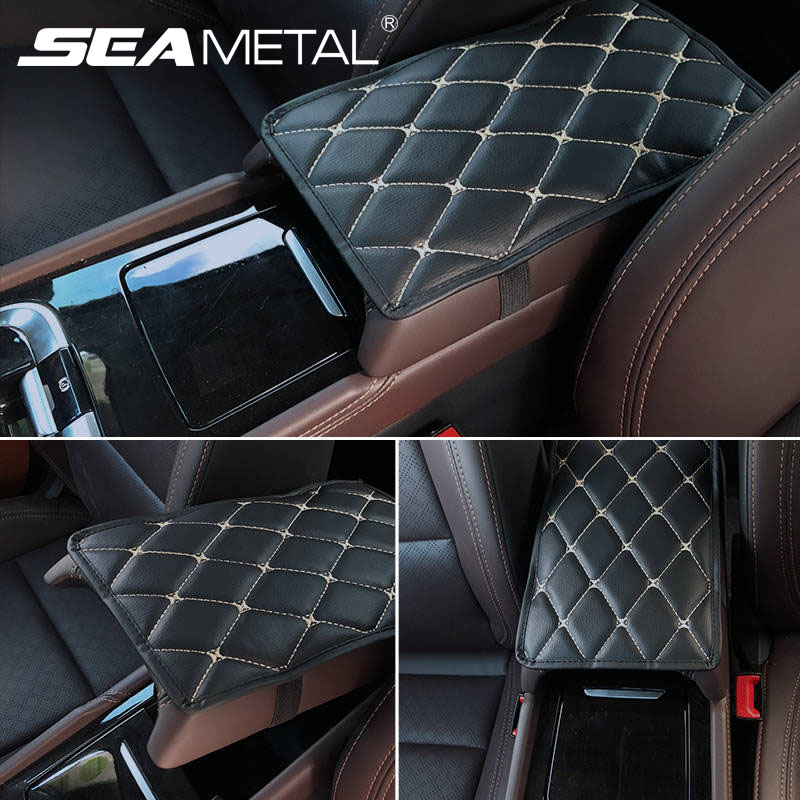 SEAMETAL Car Armrest Cover Console Arm Rest Covers Soft Leather Sponge Protective Pad Mats Waterproof Auto Accessories Universal-in Automobiles Seat Covers from Automobiles & Motorcycles