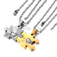 Fashion 316l Stainless Steel Love Puzzle Pendant Couple Necklace Set For Lover Valentine One Pair