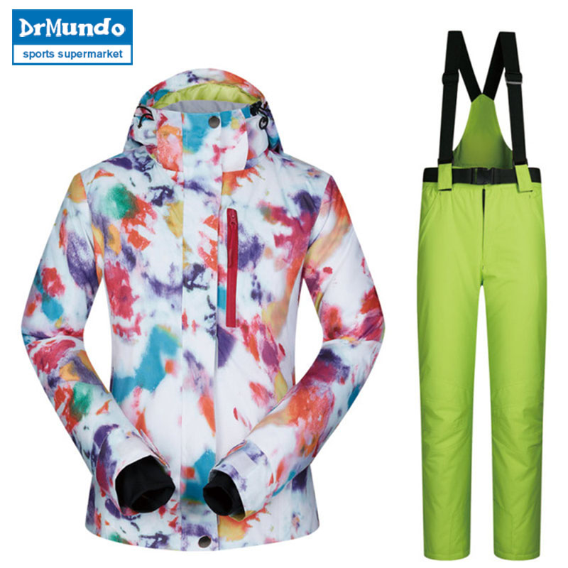 2018 haute qualité Ski costume femmes coupe-vent imperméable respirant chaud Snowboard vestes et pantalons MHSJ hiver Ski veste femmes - 2