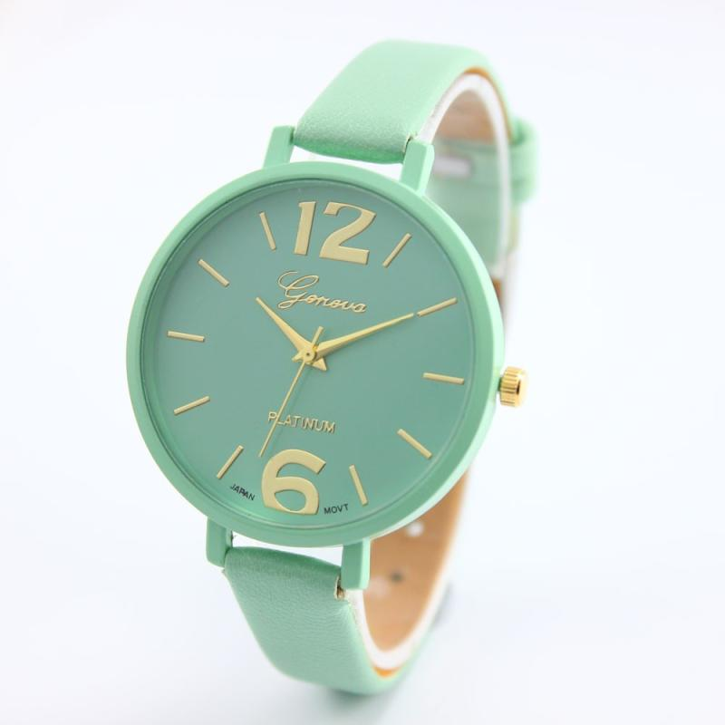 Fantastic 2016 new arrival Geneva Fashion sugar color alarm clock super thin Faux Leather Analog Quartz WristWatches Jun 28 fantastic 2016 hot sale leaf pendant bracelet leather chain alarm clock analog quartz movement wristwatches free shipping jun 28