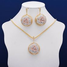 Elegant Flower Wheel Full Micro Paved Full Cubic Zircon Copper Women Wedding Engagement Earring Necklace Jewelry Set цена