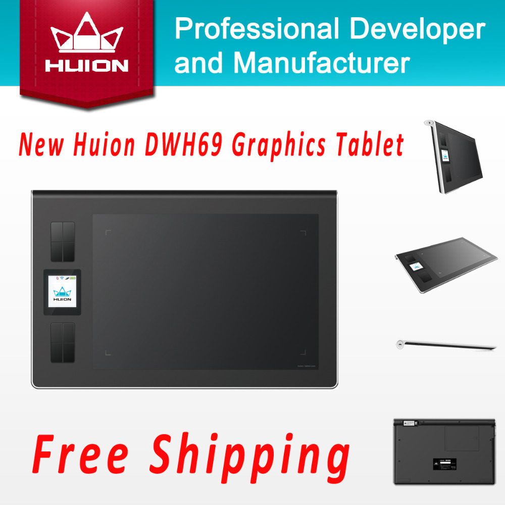 Promotion New Huion DWH69 Wireless LCD Screen Graphic Tablet Kids Drawing Board Digital Pen Tablets Professional Pannel Black huion new 1060plus 2048 levels digital tablet graphics drawing tablets pen tablet animation drawing board black free shipping