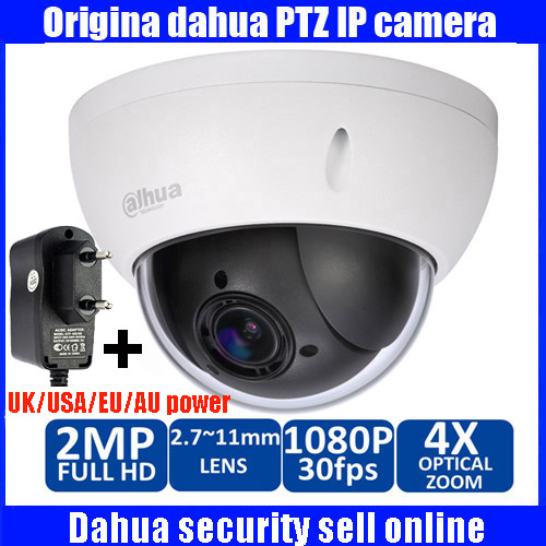 Original Dahua 1080P Mini PTZ IP Camera DH-SD22204T-GN 4X Zoom HD Network Speed Dome Camera Onvif SD22204T-GN with power supply diy kits p10 outdoor single yellow led panel 4 pcs 1 pcs led controller 1 pcs jn power supply led display screen all cables
