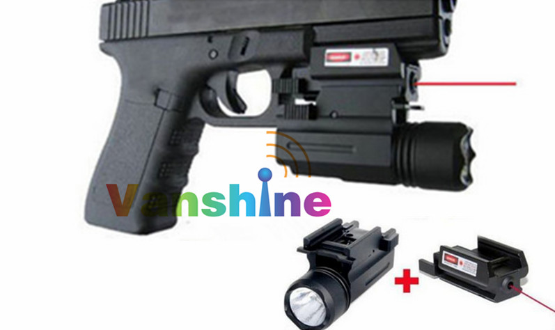 Tactical Red Dot Laser Sight with LED Flashlight 20/11MM Pistol Weaver Picatinny Rail Combo Hunting Laser for Pistol Guns Glock