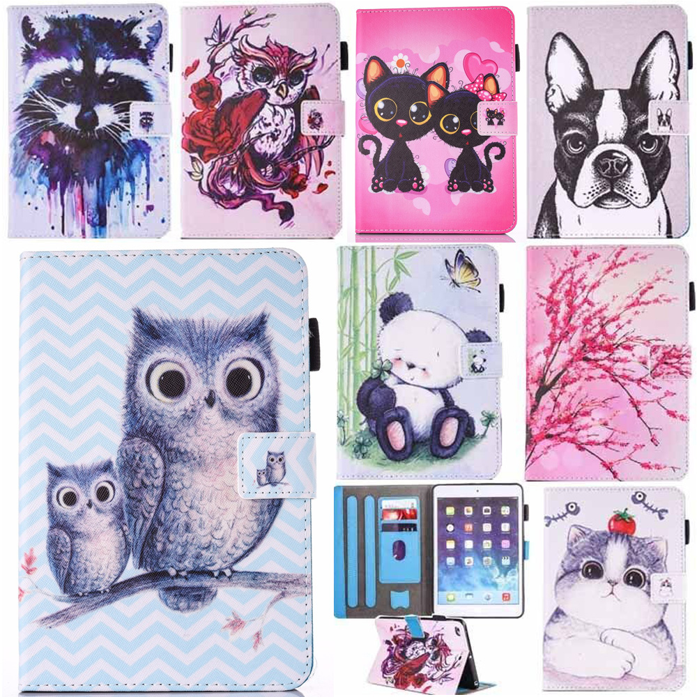For New IPad 9 7 2017 Case Cute Cartoon Pattern PU Leather Stand Smart Flip Cover