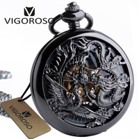 Vintage Classic Steampunk Skeleton Black Alloy Chinses Flying Dragon Phoenix Mechanical Hand Wind Pocket Watch FOB