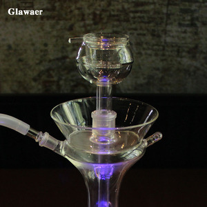 Image 2 - Glawaer new grace vase style glass hookahs shishas make big smoke with double layers glass bowl clear small chicha narguile
