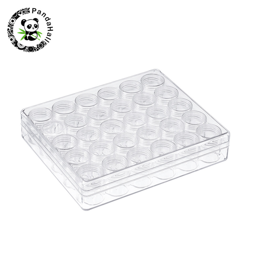 Plastic Bead Containers Clear Box For Jewelry Beads Rhinestone Nail Art Packaging Column Bottle : 26x29mm,30pcs/set