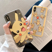 Japanese kawaii anime Pokemons Pikachue clear phone case for coque iPhone 7 8 6s 6plus XS max silicon For iphone cover X XR