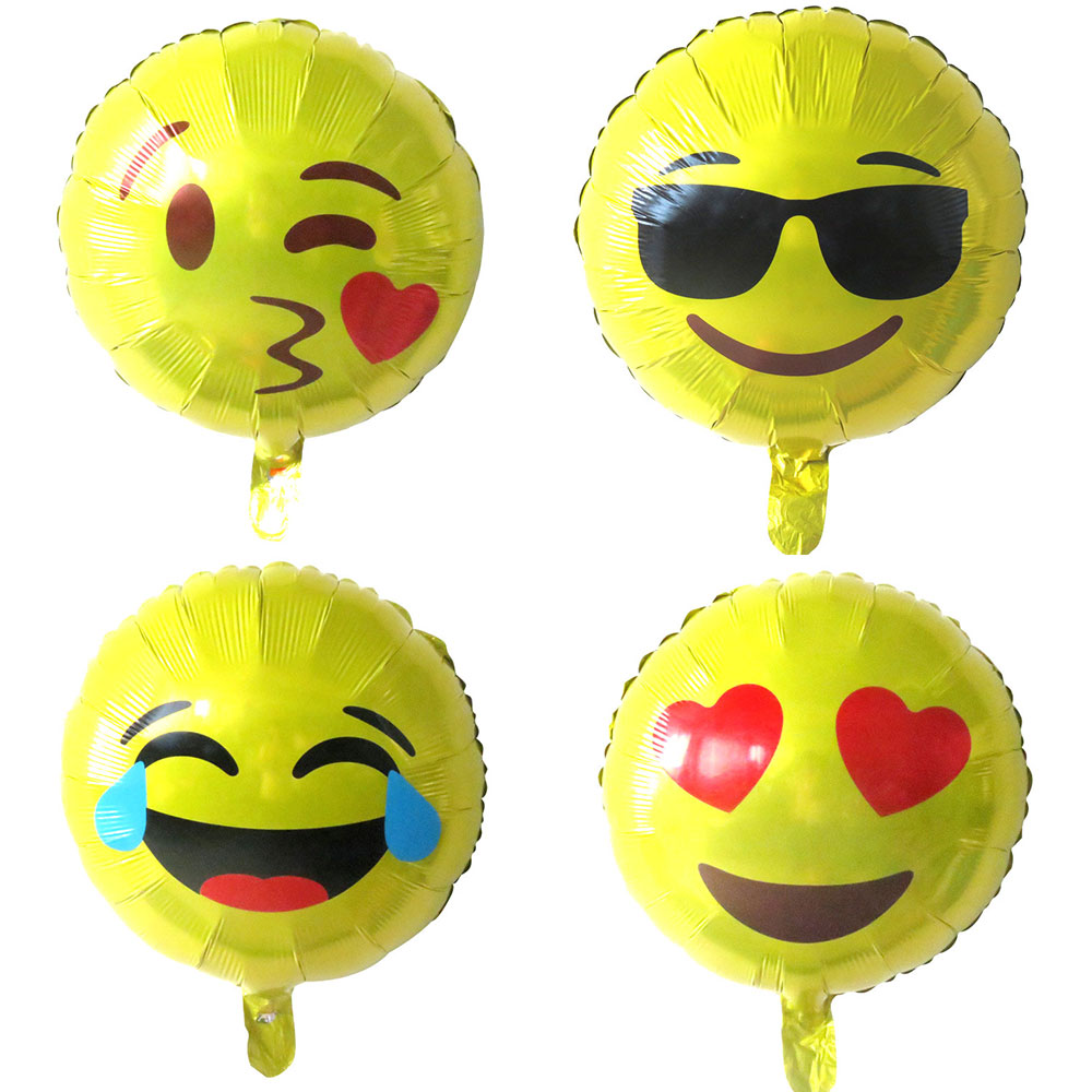 4pcs 18inch emoji foil balloons wedding party decorations air ballon smiley face expression globos birthday party supplies toys
