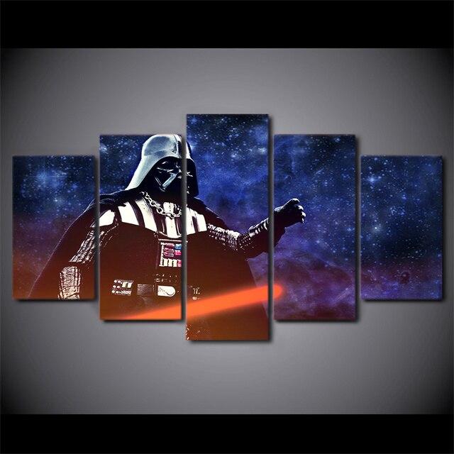 5 Panel HD Printed Framed Star Wars Darth Vader Wall Canvas Art Modern Oil Painting Poster