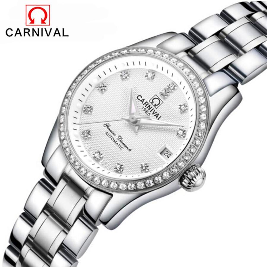 Luxury Brand Mechanical Women Watches Ladies Casual Waterproof Watch Female Clock Silver Stainless Steel Dress Watch relogio