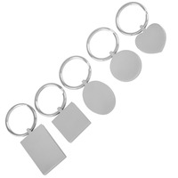 IJK0040 WHOLESALE Five Piece Set Stainless Steel Key Chain High Polished Keyring Keychain Blank Engravable