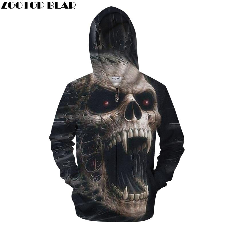 2019 New Of Skull Top 3D Zipper Hoodie Men Printed Skull Zip Jacket Winter Cool Man Sweatshirts Hooded Plus Size Fashion 3D Hood