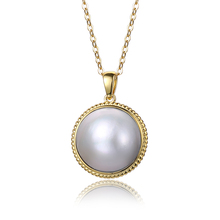 цена 925 Sterling Silver Pearl Necklace 17-18mm Big Round Freshwater Pearl Necklace White/Blue Mabe Pearl Pendant Necklaces For Women в интернет-магазинах