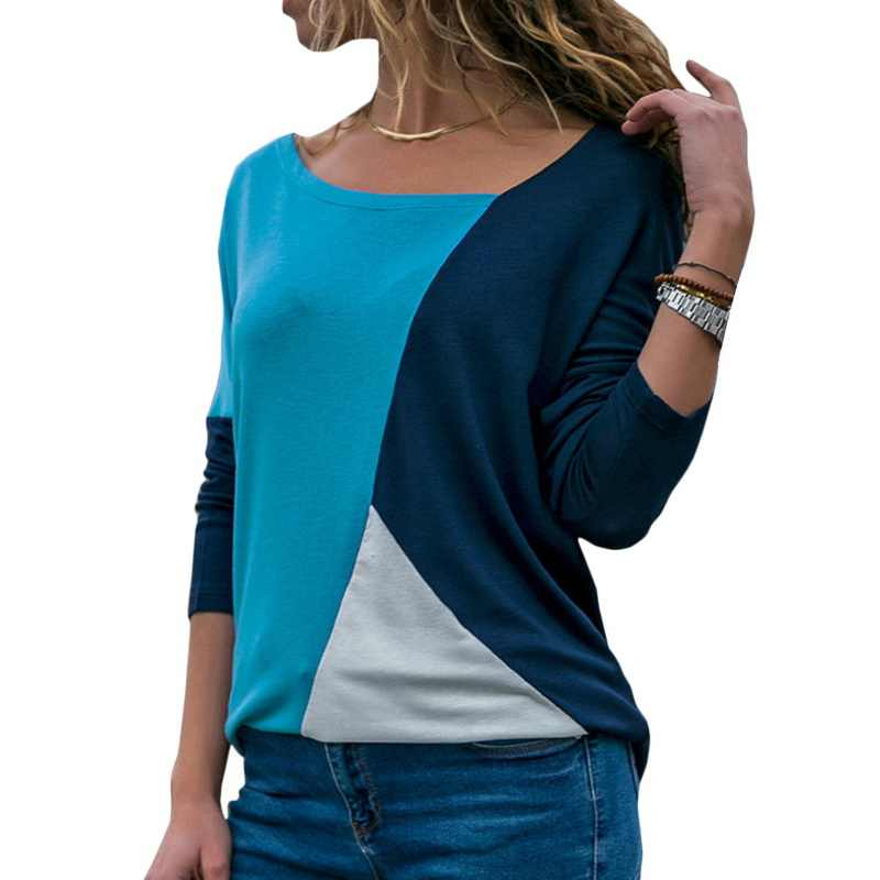 Laamei Women Color Block Long Sleeve Casual T-Shirts 2019 Spring Round Neck Patchwork Slim Fit Tops Tee Cotton T-Shirt Camisas