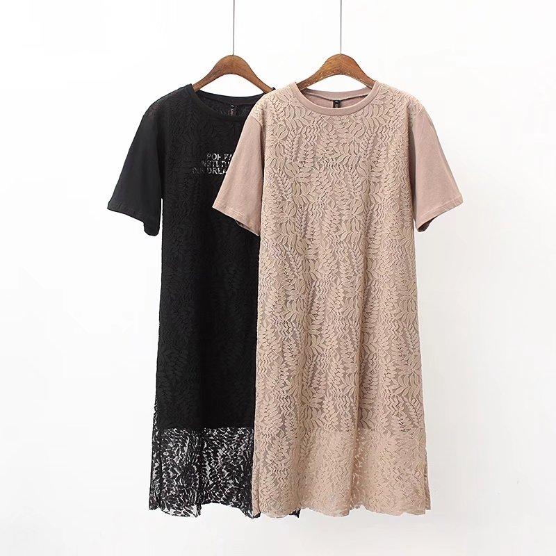 Oversized Plus Size <font><b>Khaki</b></font> Lace Patchwork Women <font><b>Dress</b></font> 2018 Fashion Ladies Summer O-Neck Short Sleeve Cotton Vestidos Female 4XL