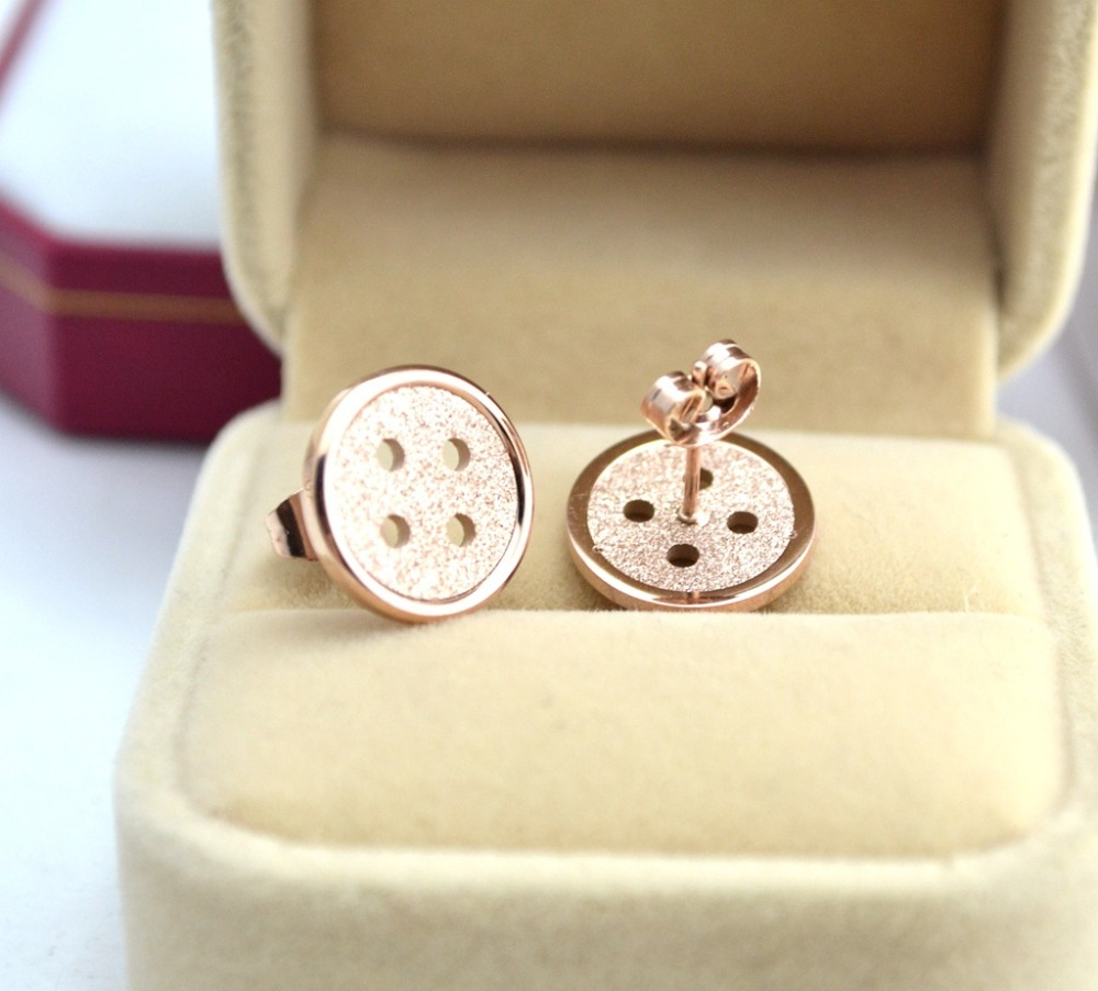 8d91edd35b2 Hot Sale High Quality Fashion Button Titanium Steel earrings new rose gold  color Stud Earrings For Women gifts jewelry
