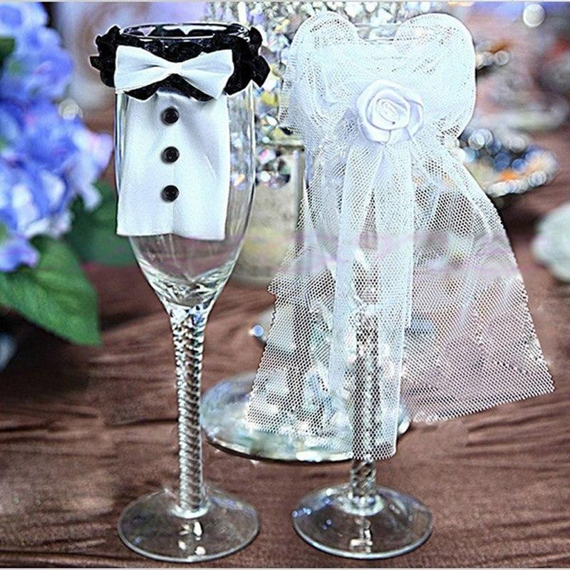 Beautiful Wedding Decor 2Pcs Bride & Groom Tux Bridal Veil Wedding Toasting Wine Glasses Decor Party & Holiday DIY Decorations