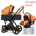 De Lujo cochecito de bebé 3 en 1 de alta calidad bebé puede sentarse puede mentir bebé cochecito