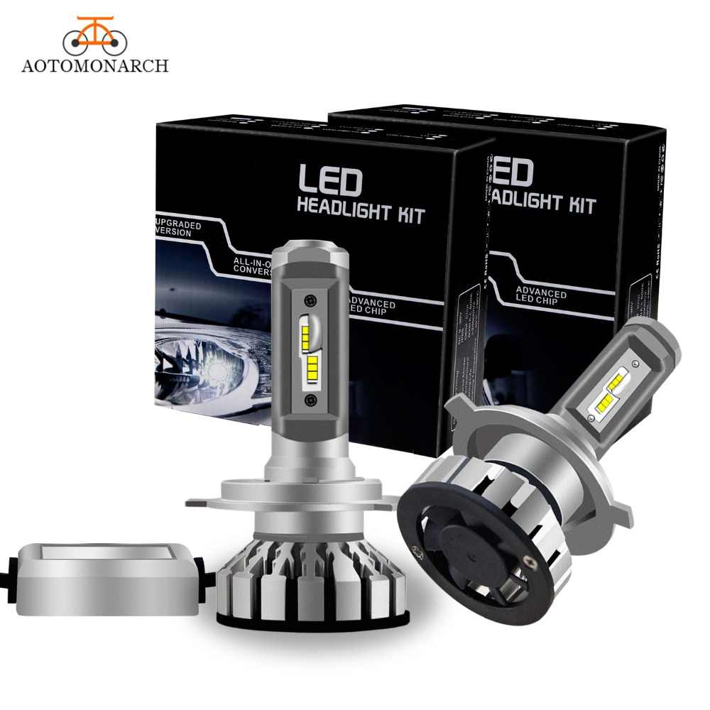 AOTOMONARCH 2Pcs Mini H4 H7 LED H11 H8 9005 Car Headlight Bulbs HB3 9006 HB4 H13 9004 9007 CSP Auto Light 60W 6000K EJ