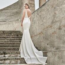 Verngo Pearls Mermaid Wedding Dress Sexy V-Back Gowns Ivory Soft Stain Bride Boho Vestido Noiva