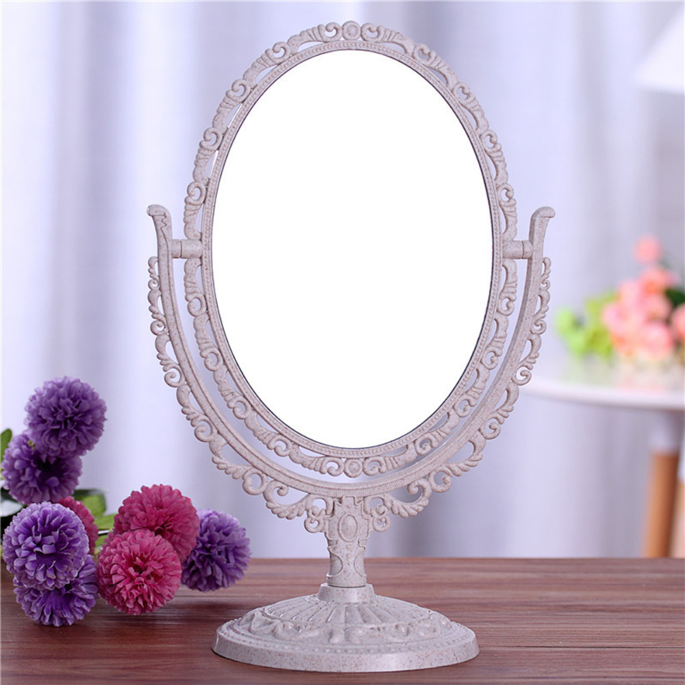 Double Sided Make Up Cosmetic Oval Mirror Shaving Bath Table On Stand