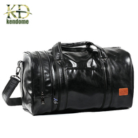 2018 Hot PU Leather Large Sports Training Fitness Bag Gym Bag Men Women Independent Shoes Travel
