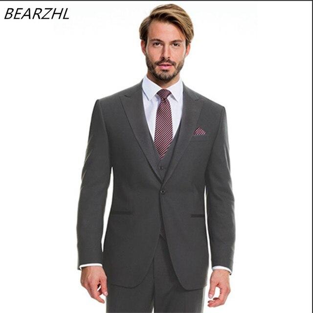 Western Suits For Men Suit Dark Grey Custom Made High Quality Wedding Tuxedo 3 Piece