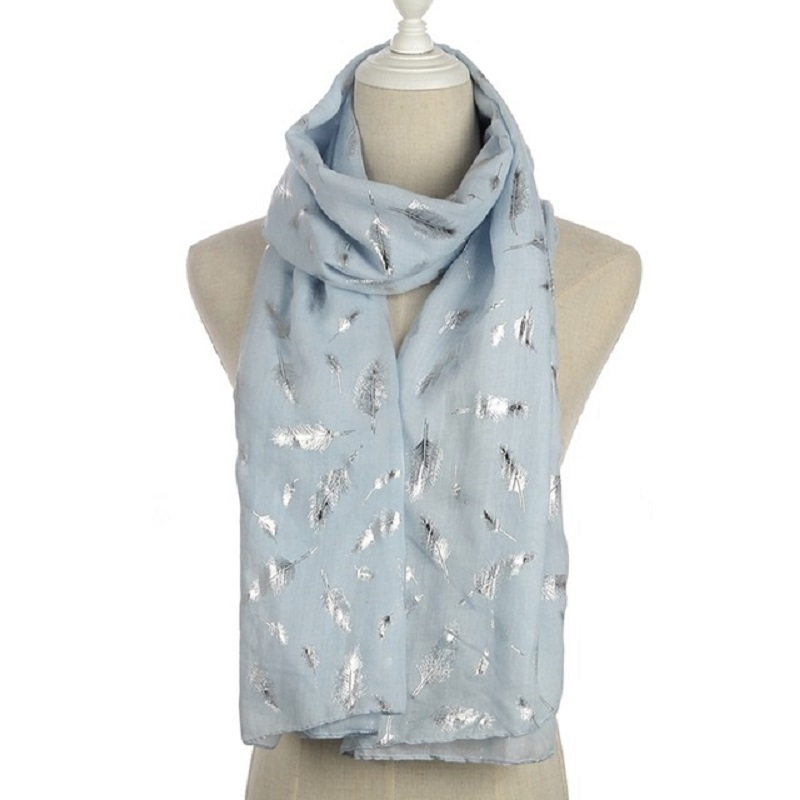 WINFOX Brand New Fashion Shiny Bronzing Sliver Navy Pink White Feather   Scarf   Women   Scarves   And   Wraps