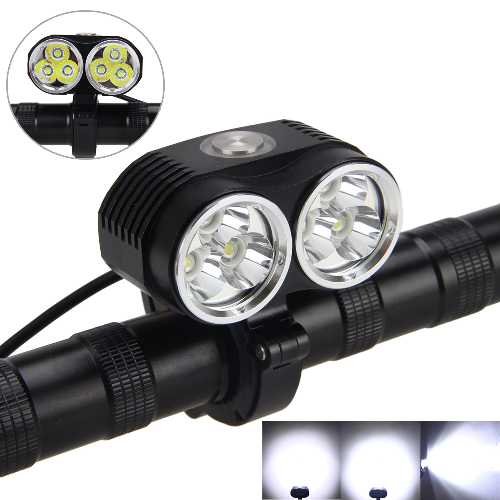 Strong 10000LM T6 led Bicycle Light Head Front Light Bicycle Bike Light Headlight+16000mAh Battery Pack +AC Charger + Tail Light hot sale 3x cree xml t6 led headlamp bike light 5000 lumen 18650 led head light 4x18650 battery pack charger bike rear light