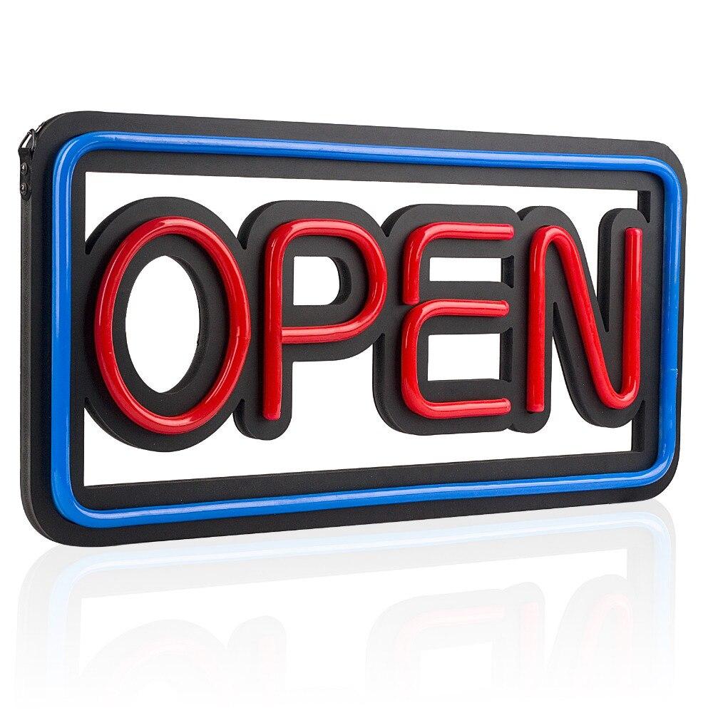 LED ouvert enseigne au néon, 50*25 cm lumineux néon multicolore Style fenêtre affichage lumière Bar Restaurant magasin Salon Motel porte