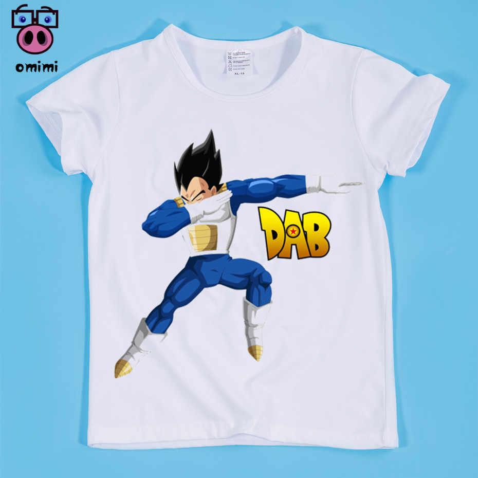Мальчик/девочка аниме вытирая Гоку футболка с принтом для мальчиков и девочек Dragon Ball Z Manga футболки Дети Аниме брендовая одежда, возрастом от 2 до 14 лет