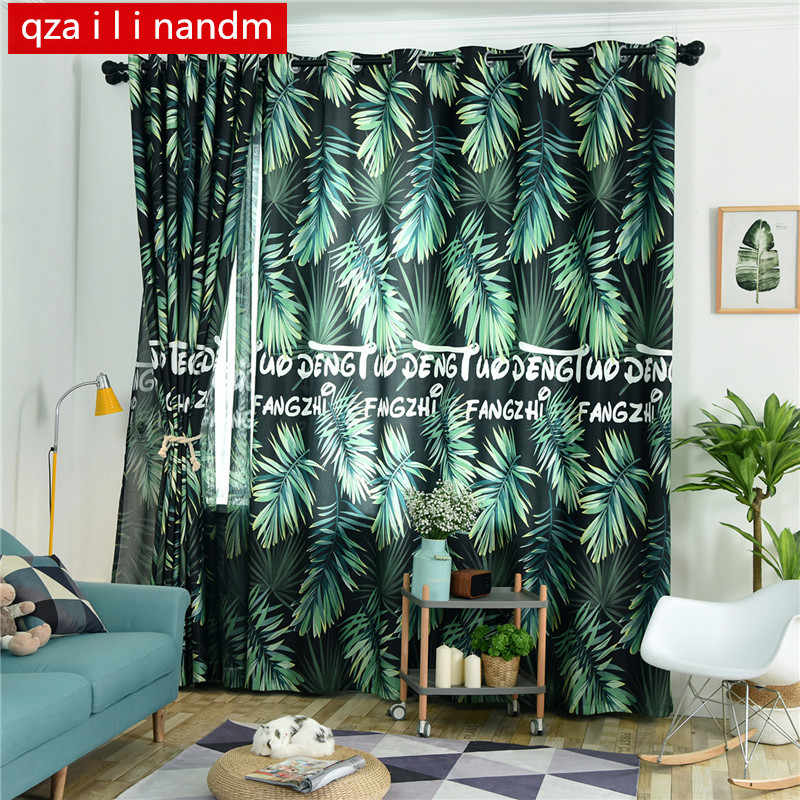 Modern Rustic style window treatments 3d curtains with tulle curtains kitchen door curtain home decoration window blinds