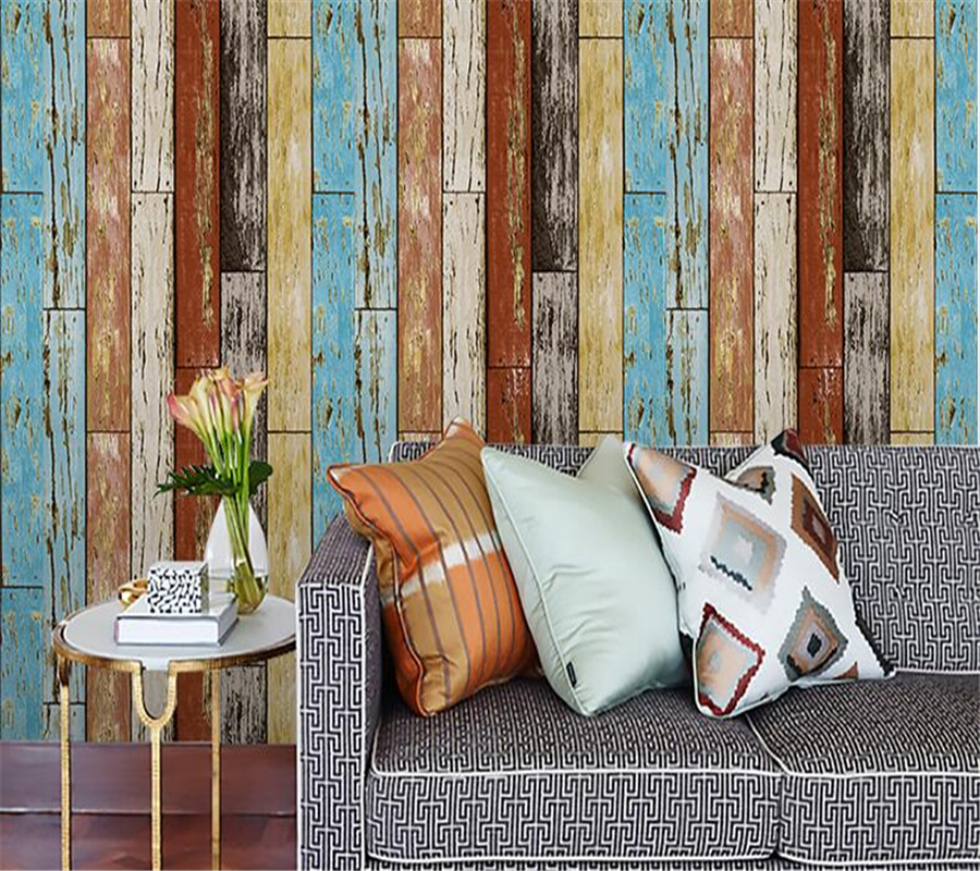 Beibehang Vintage Wood Wallpaper Roll Wooden Plank Panel Mural Home Kitchen Bathroom Decoration wallpapers for living room