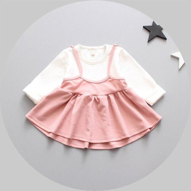 2017 new Spring fashion sweet  Long Sleeve Fake two Sling dresses, princess infants Dress S4685