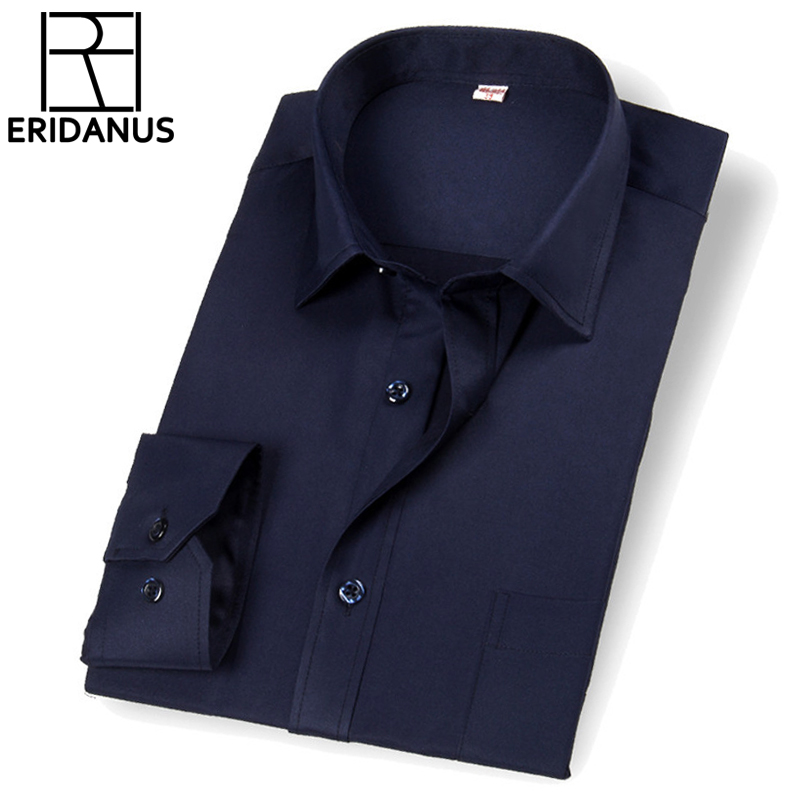 2016 New Long-sleeved Shirt Spring Breathable Fashion Simple Design Slim Fitness Pure Color Occupational Dress Shirts S-4xl M034