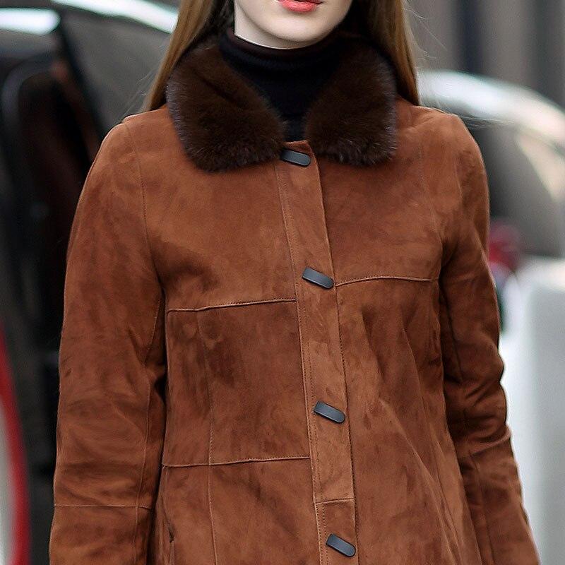 Fourrure Brown Npi Veste Naturel Mouton Une Manteau Vison De Véritable Col Pièce Cisaillement Cuir Femmes En 81106f Peau fgyb7IY6v