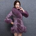 YNZZN 2016 Nueva Colección de Invierno Mujeres Abrigos de Piel Con piel de Zorro del Faux Fur Coat Elegante Púrpura Gruesa Caliente Outwears YO133